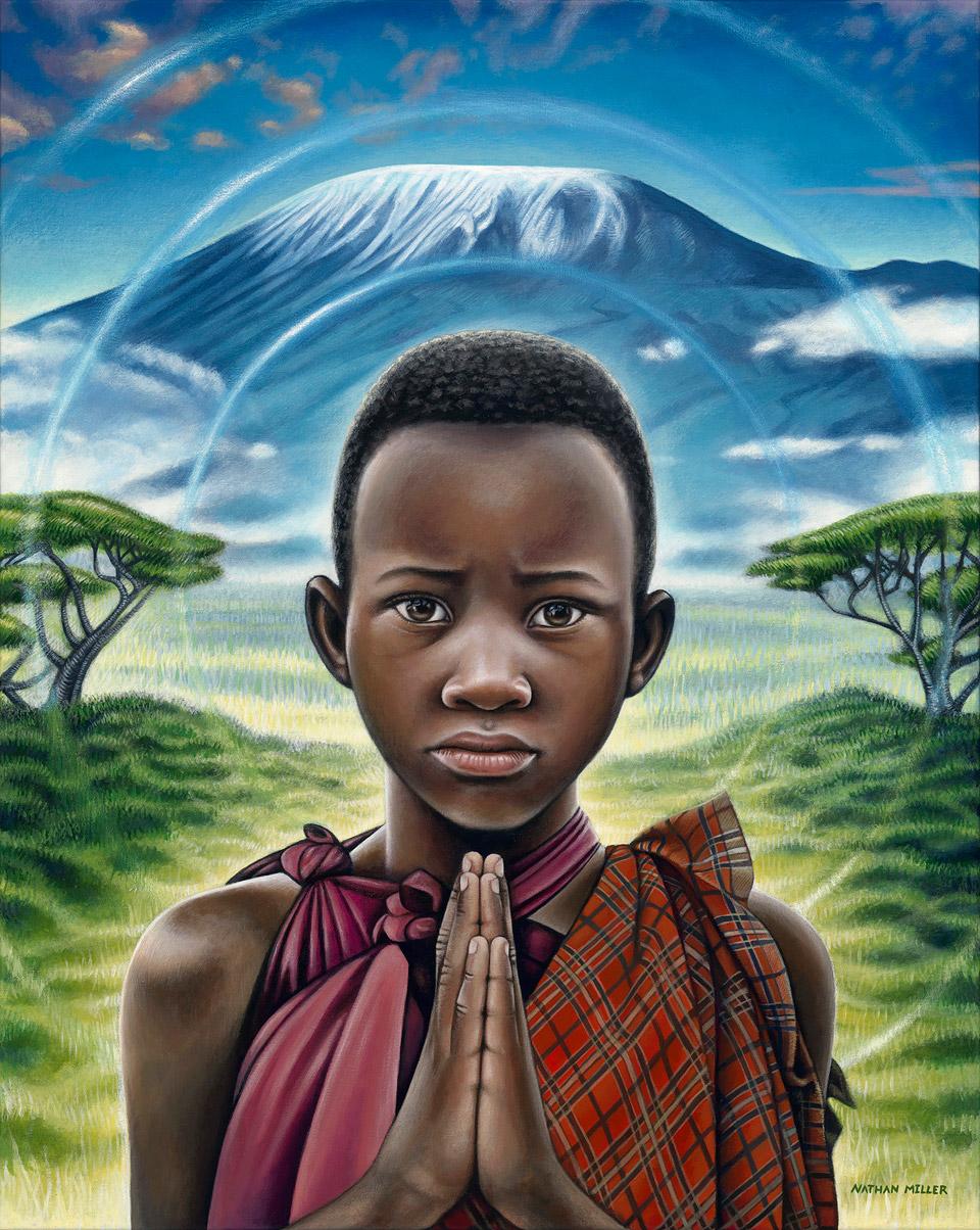 African Boy - Namaste Child Art by Nathan Miller