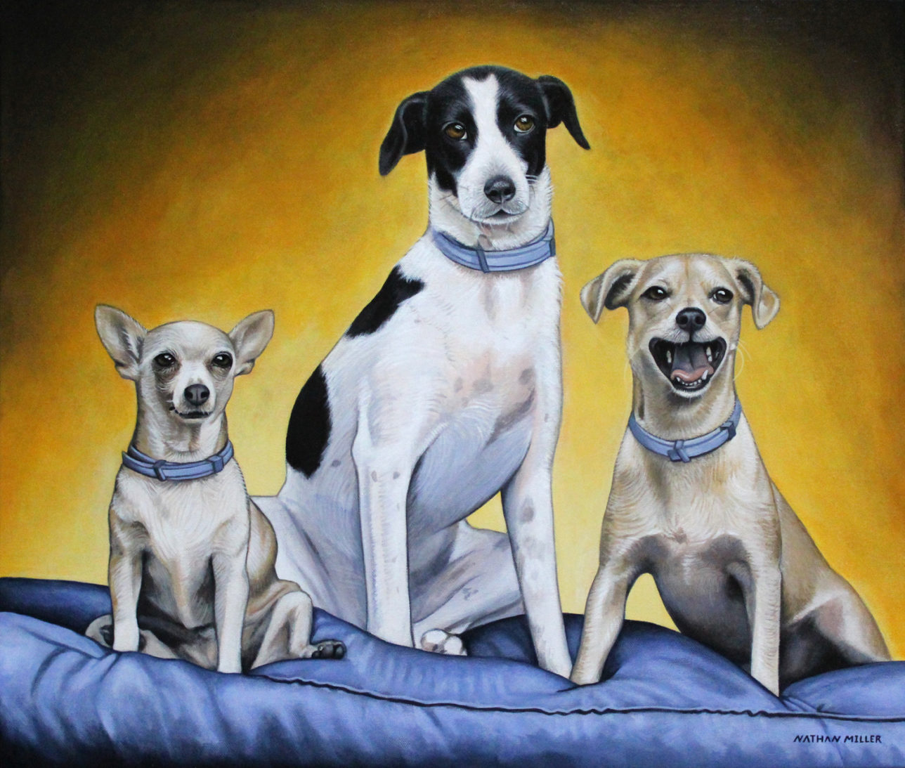 Portrait of Three Dogs - Art by Nathan Miller