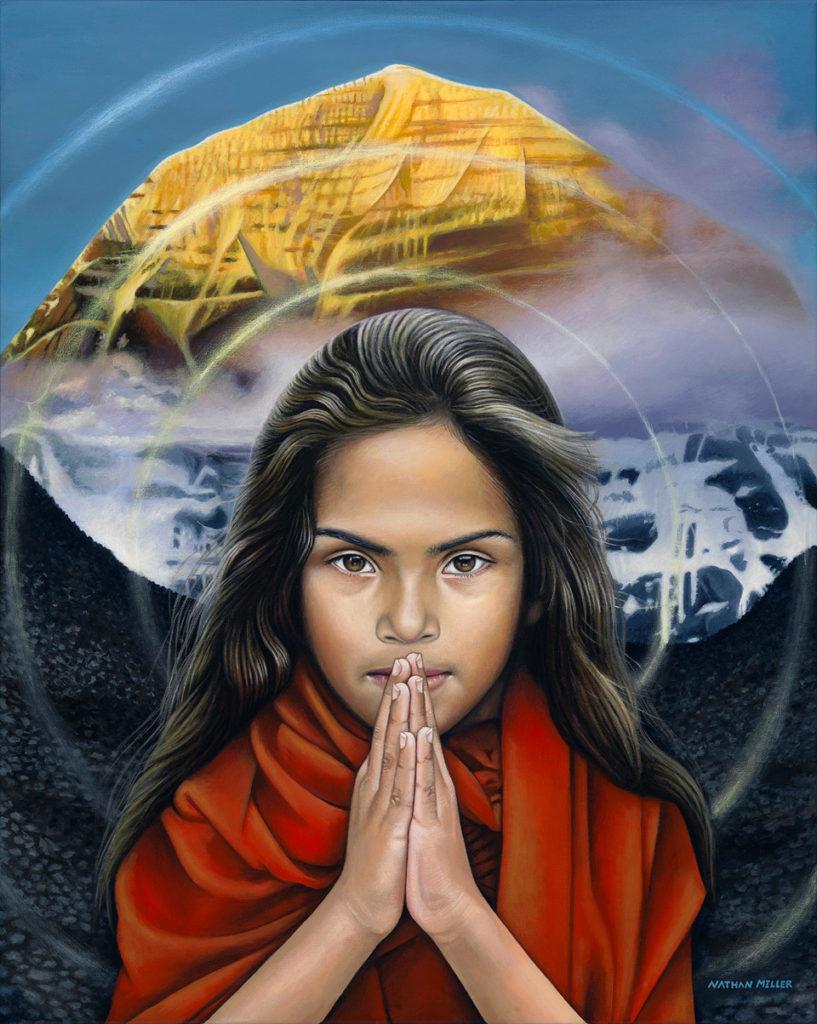 Indian Girl - Namaste painting by Nathan Miller