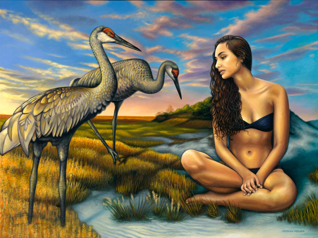 Eventide - A Sandhill Crane painting by Nathan Miller