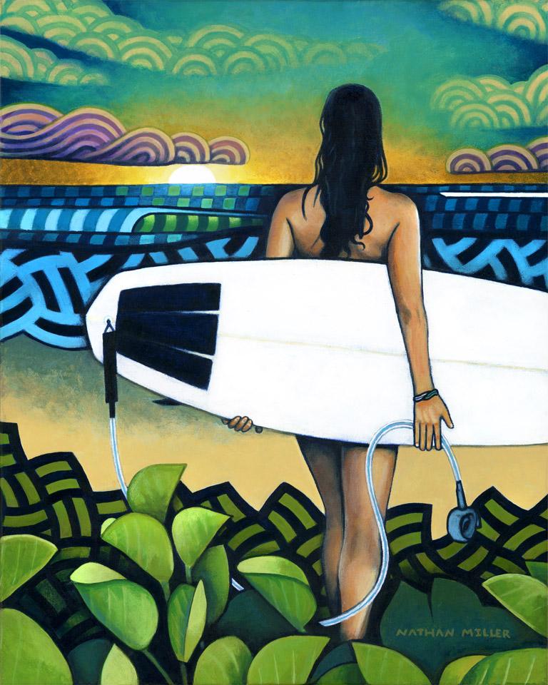 Surfer at Sunset - Art by Nathan Miller