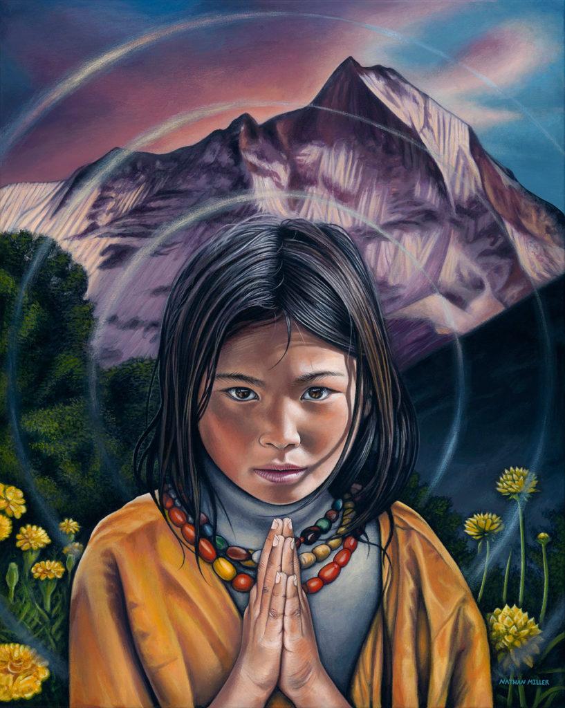 Tibetan Girl - Namaste Art by Nathan Miller