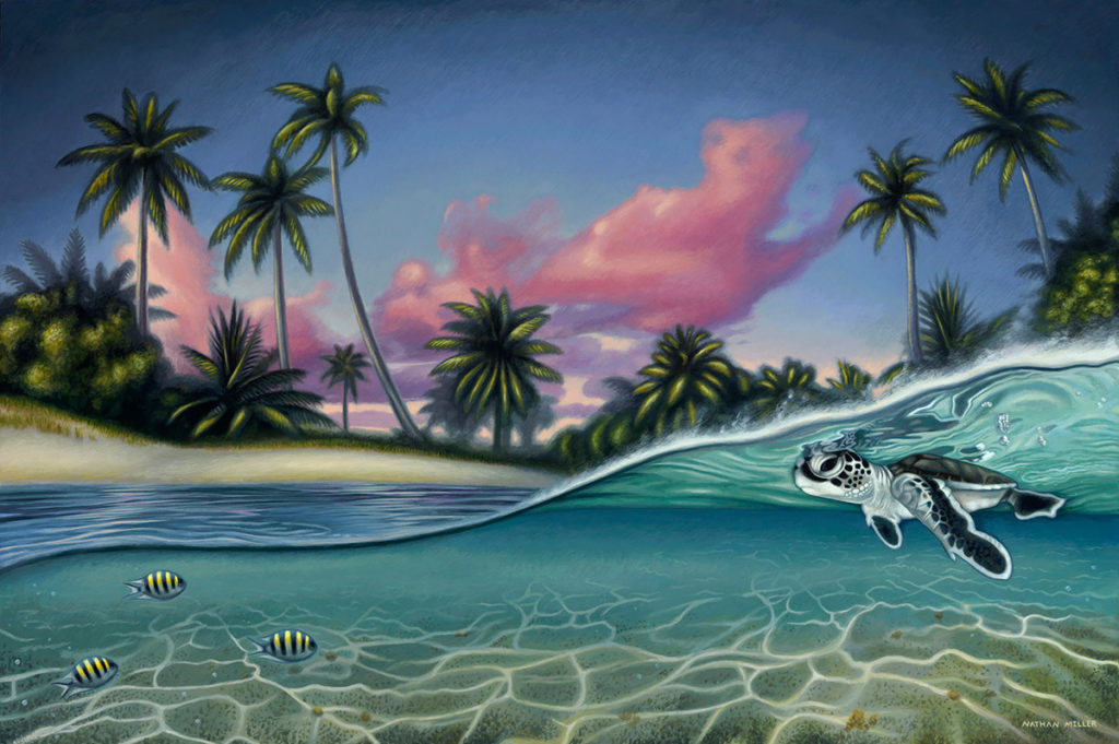 Sea Turtle Painting - Art by Nathan Miller